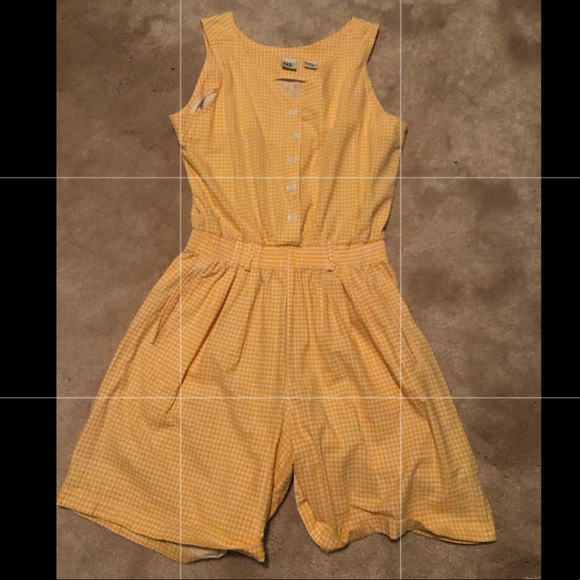 Other - VINTAGE Yellow Checkered Romper